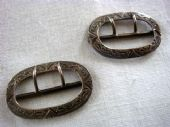 English Antique Silver Buckles - Edwardian Hallmarked 1907 (SOLD)